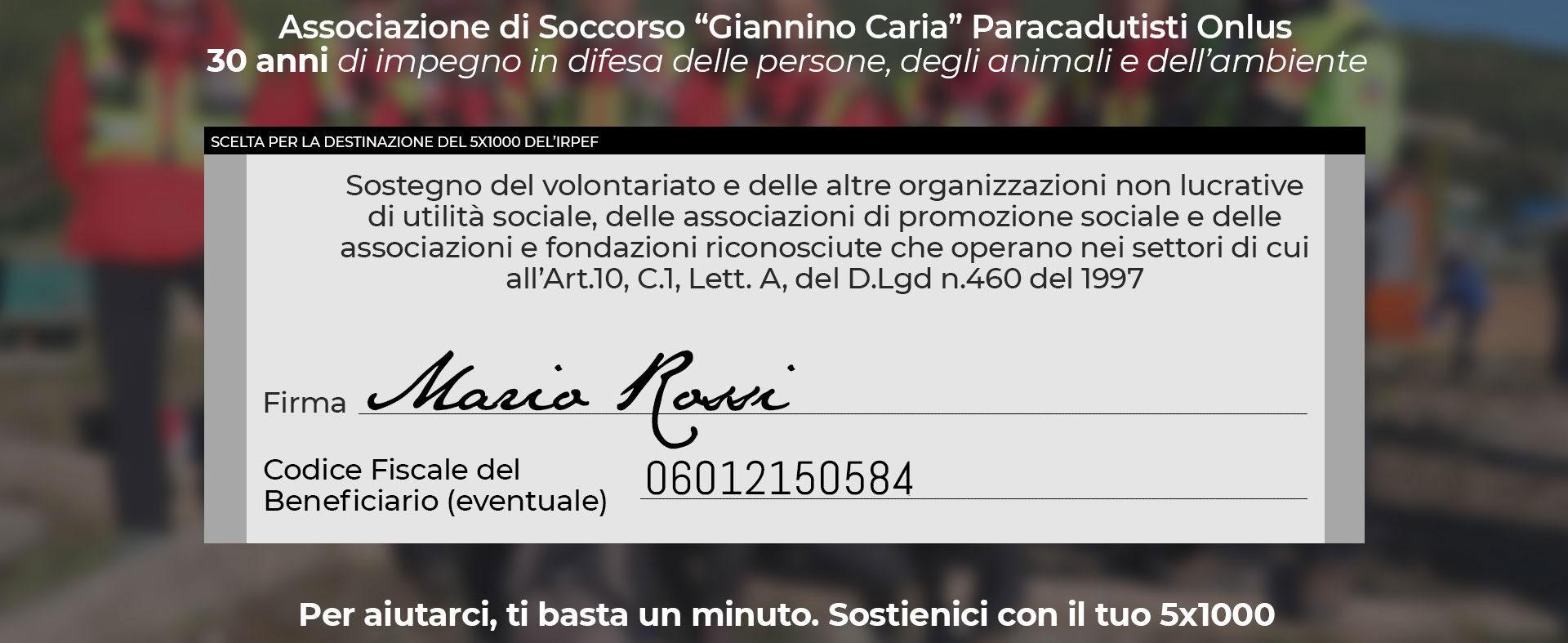 DONAZIONI 5X1000 Giannino Caria - Protezione Civile